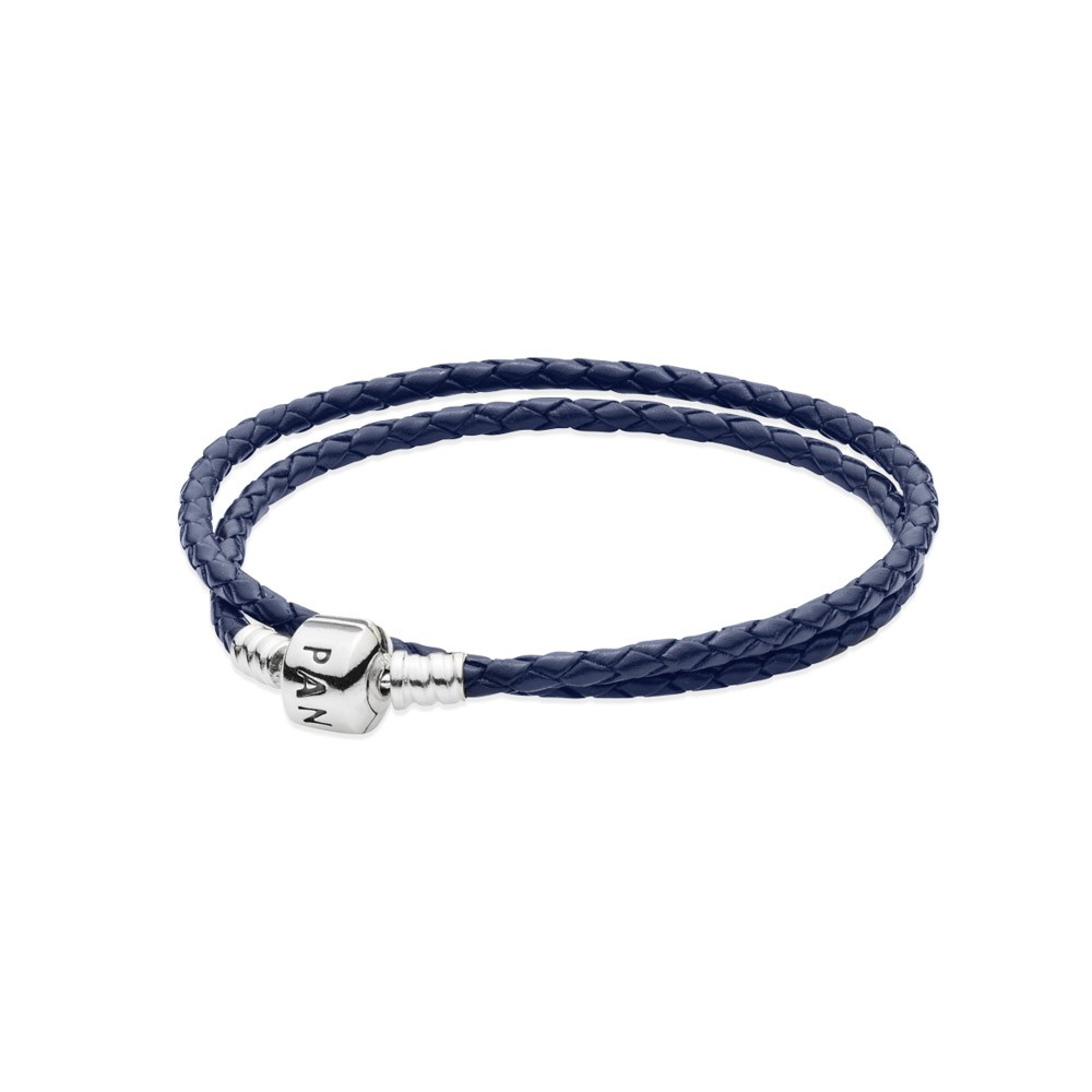 Pandora Silver leather bracelet, double dark blue