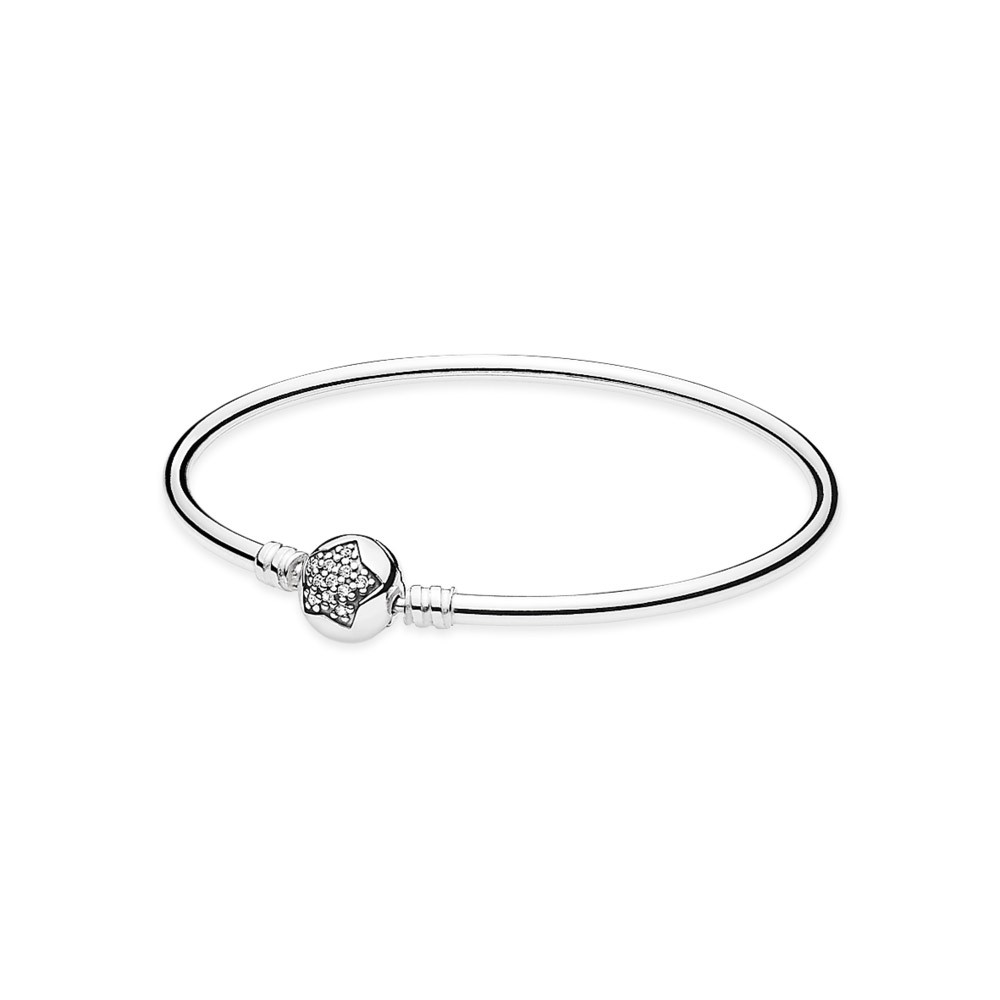 Silver Bangle Bracelet With Cubic Zirconia