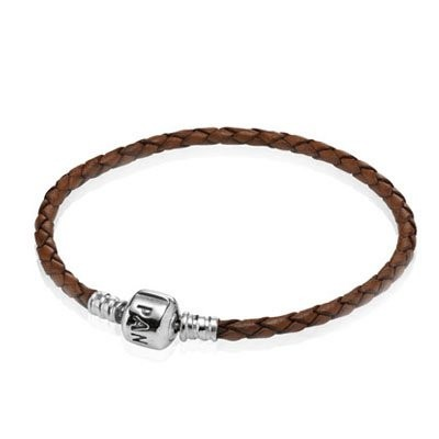 Pandora Coffee Single Braided Leather Bracelet