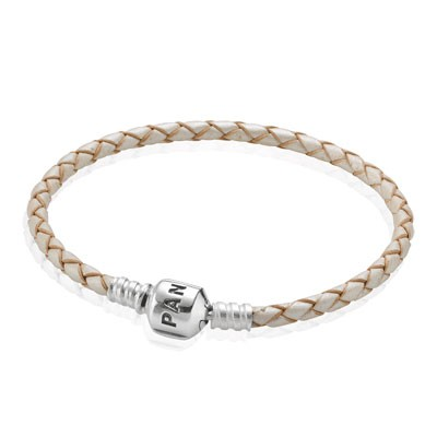 PANDORA Champagne Single Braided Leather Bracelet