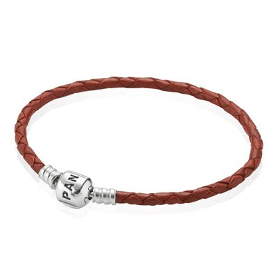PANDORA Red Double Braided Leather Bracelet
