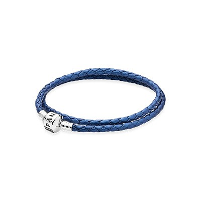 PANDORA Blue Double Braided Leather Bracelet