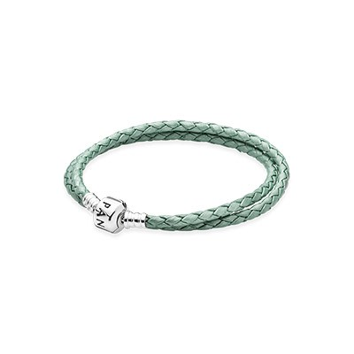 PANDORA Green Double Braided Leather Bracelet