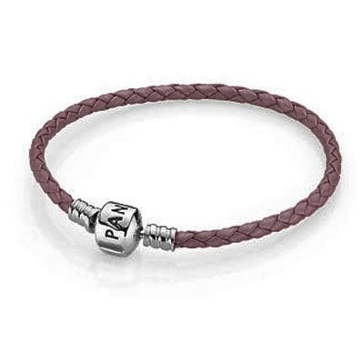 Pandora Pink Single Braided Leather Bracelet