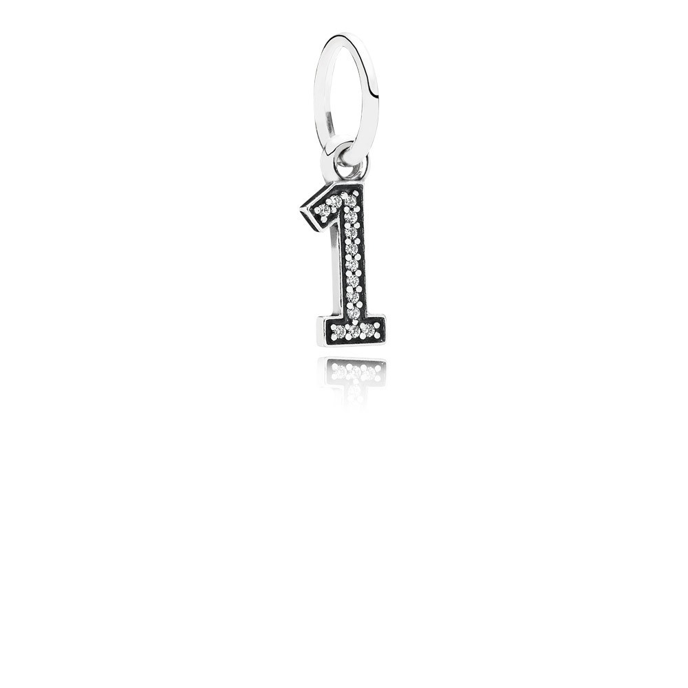 Number 1 Silver Dangle With Cubic Zirconia