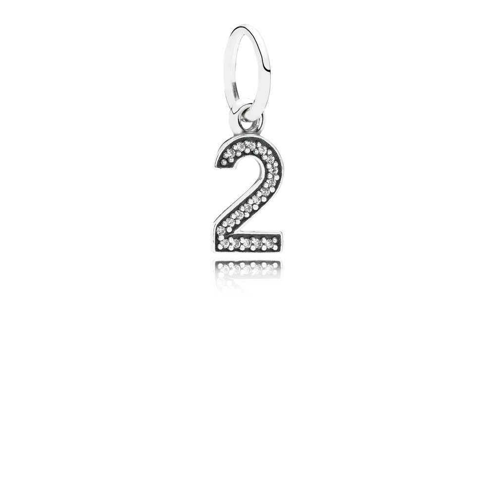 Number 2 Silver Dangle With Cubic Zirconia