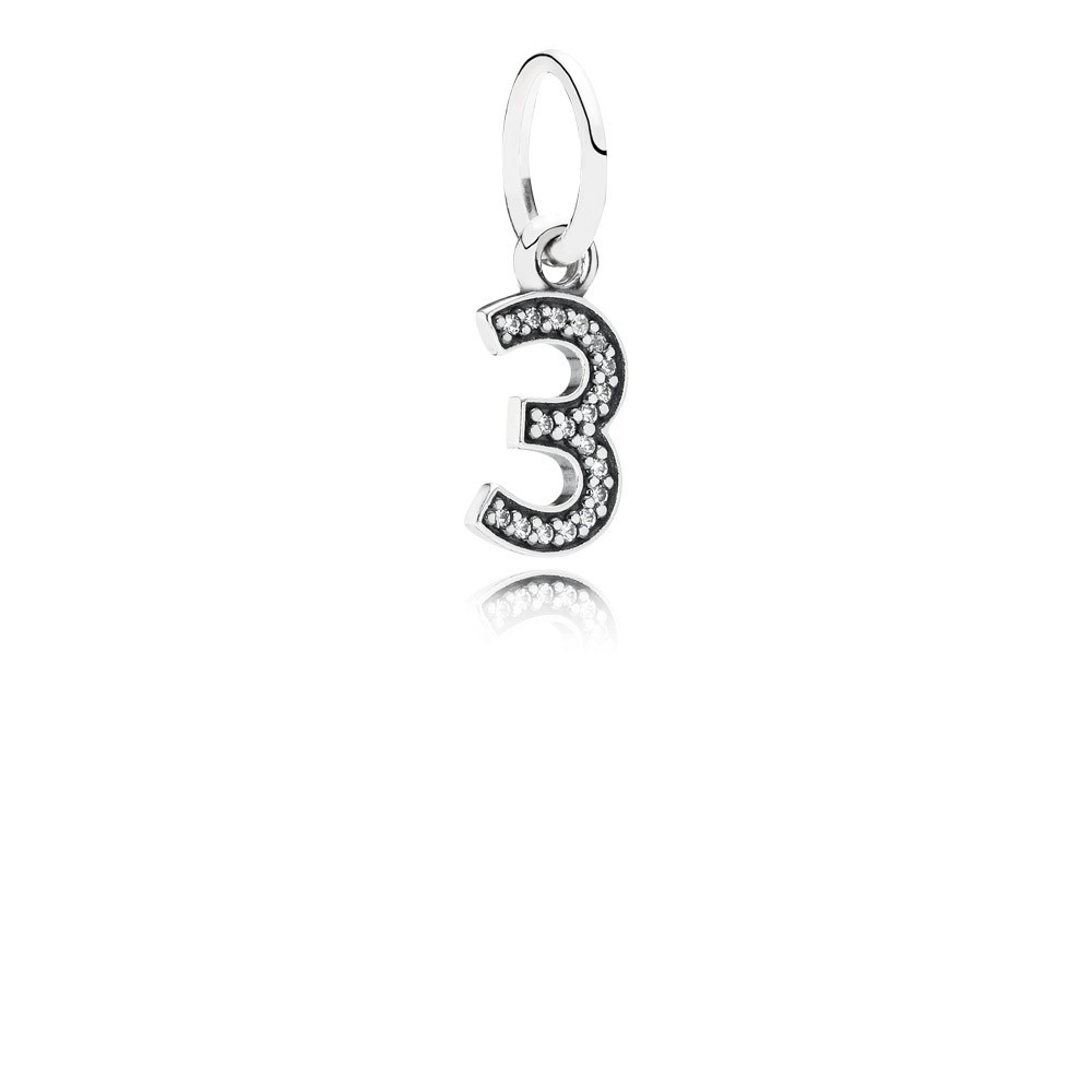 Number 3 Silver Dangle With Cubic Zirconia