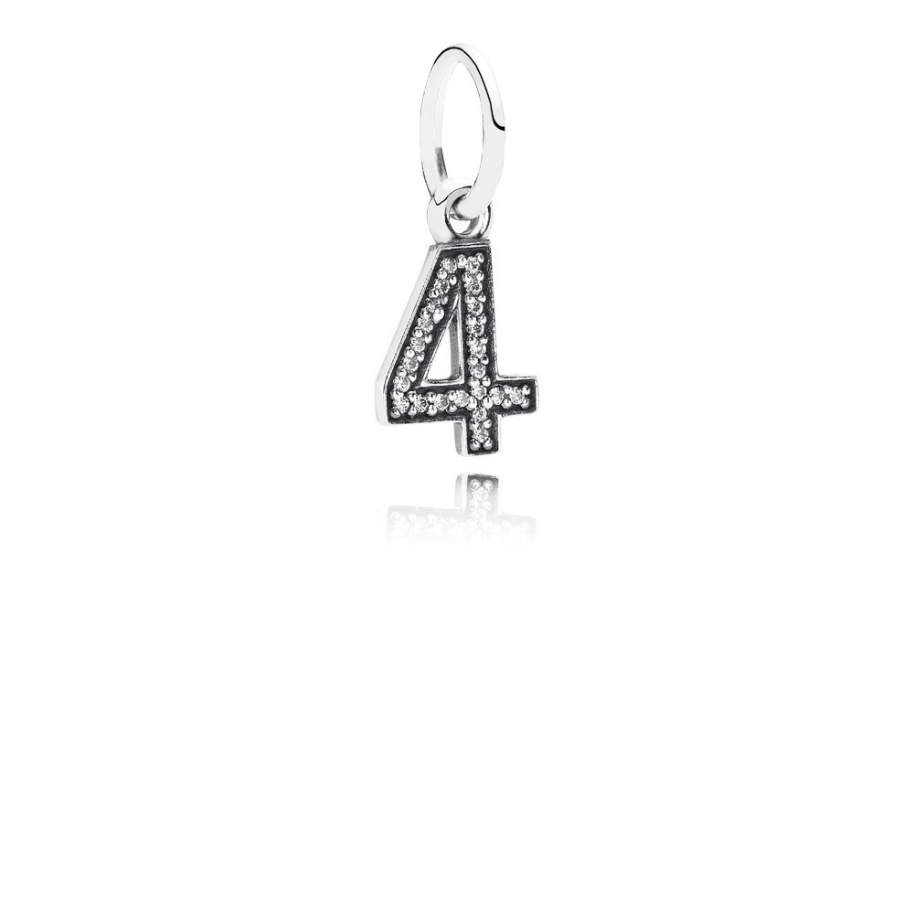Number 4 Silver Dangle With Cubic Zirconia