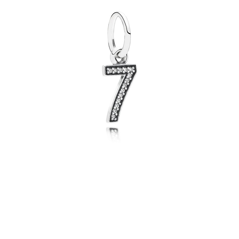 Number 7 Silver Dangle With Cubic Zirconia