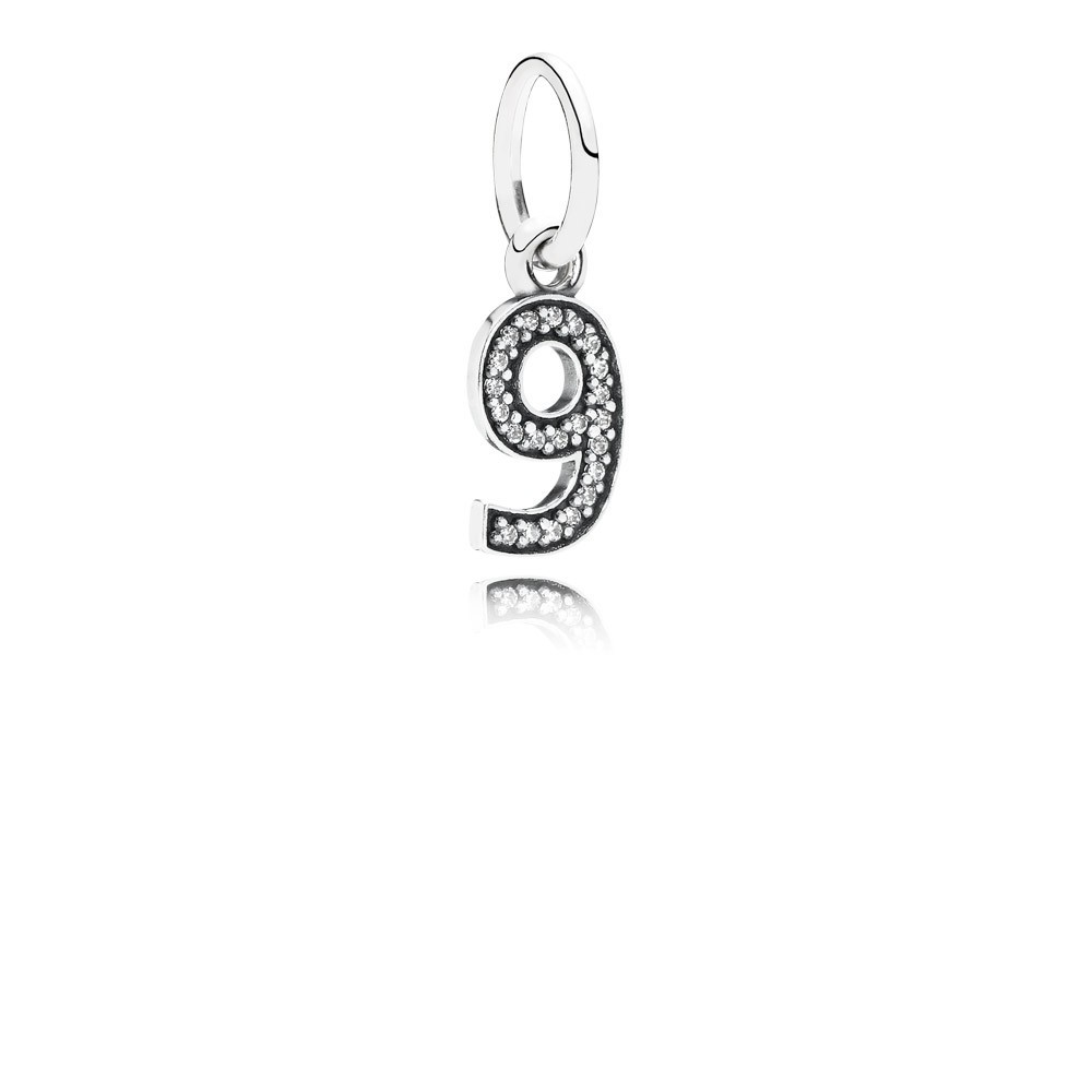Number 9 Silver Dangle With Cubic Zirconia
