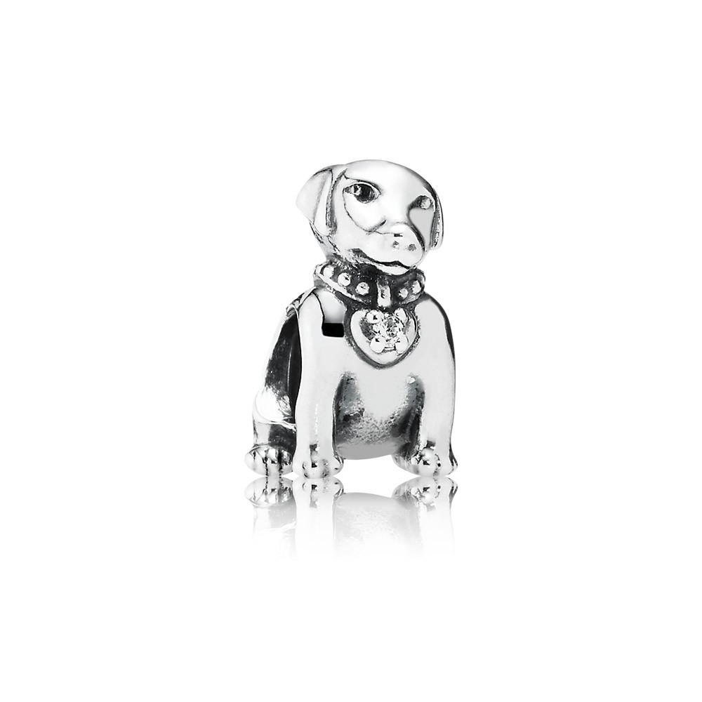 Labrador Dog Silver Charm With Cubic Zirconia