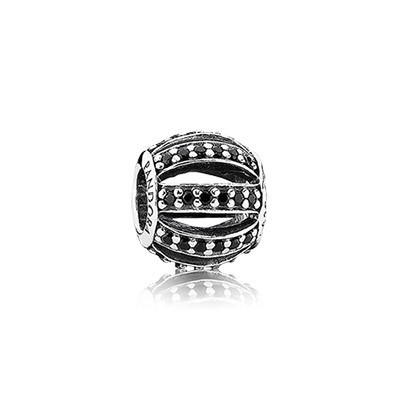 Pandora Black CZ Leading Lady Pave Barrel Charm Silver