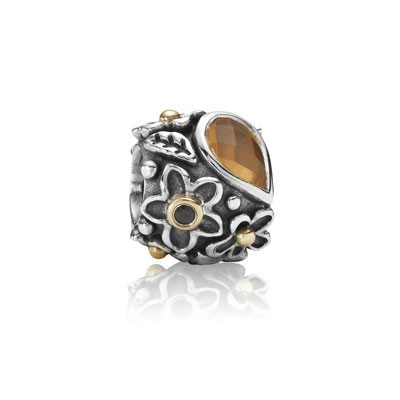 Pandora Black Onyx Stone and Orange Moonstone Dew Drops Charm Silver