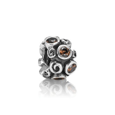 PANDORA Brown Primrose Path Charm