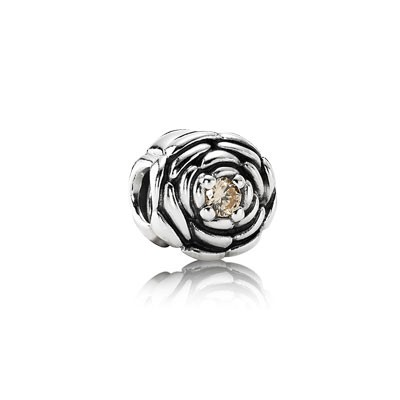 PANDORA Salmon Blooming Rose Charm