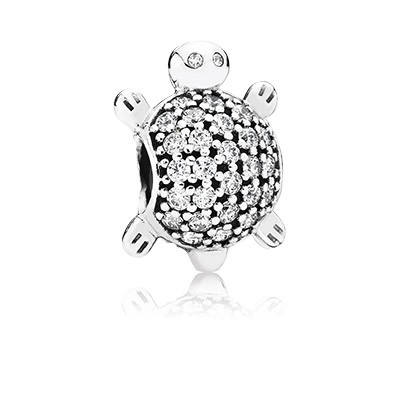 PANDORA Silver Sea Turtle Charm with Clear Cz