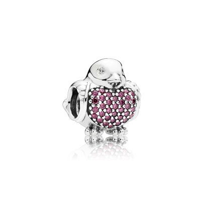 PANDORA Red Robin with Red and Clear CZ Charm