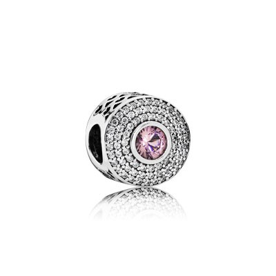 PANDORA Radiant Splendor with Blush Pink Crystal and Clear CZ Charm