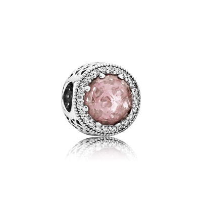 PANDORA Radiant Hearts with Blush Pink Crystal and Clear CZ Charm