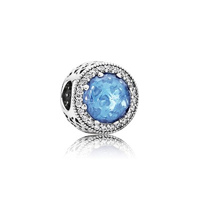 PANDORA Radiant Hearts with Sky-Blue Crystal and Clear CZ Charm