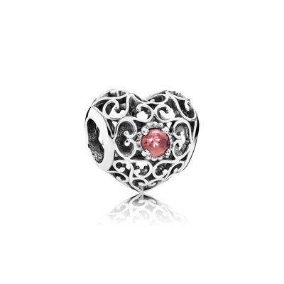 PANDORA January Signature Heart with Garnet Charm