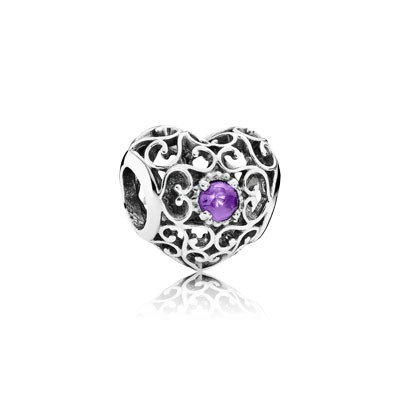 PANDORA February Signature Heart with Synthetic Amethyst Charm