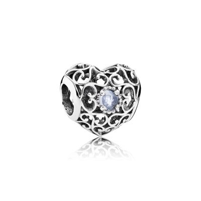 PANDORA March Signature Heart with Aqua Blue Crystal Charm