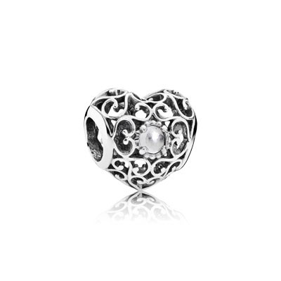 PANDORA April Signature Heart with Rock Crystal Charm