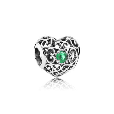 PANDORA May Signature Heart with Royal Green Crystal Charm