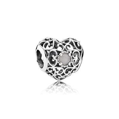 PANDORA June Signature Heart with Gray Moonstone Charm