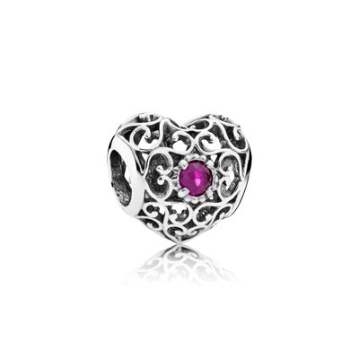 PANDORA July Signature Heart with Synthetic Ruby Charm