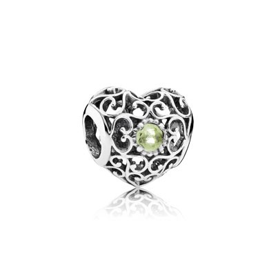 PANDORA August Signature Heart with Peridot Charm