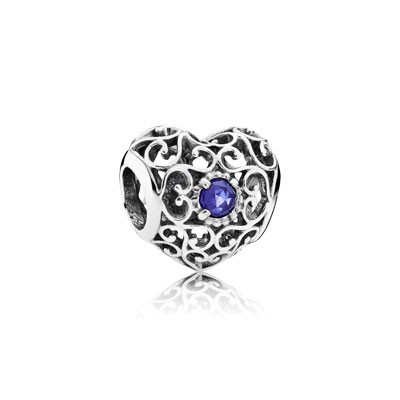 PANDORA September Signature Heart with Synthetic Sapphire Charm