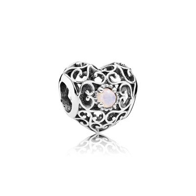 PANDORA October Signature Heart with Opalescent Pink Crystal Charm