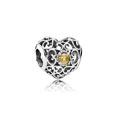 PANDORA November Signature Heart with Citrine Charm