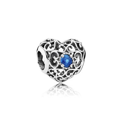 PANDORA December Signature Heart with London Blue Crystal Charm