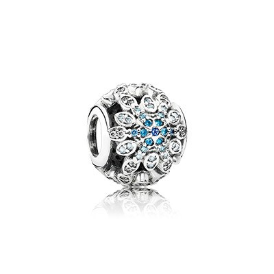 PANDORA Crystalized Snowflake With Blue Crystals & Clear CZ Charm