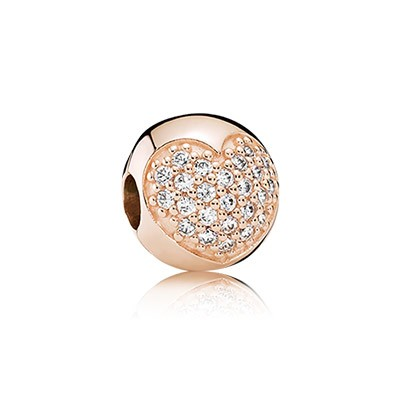 PANDORA roseGold Plated Clear Pave Heart Clip