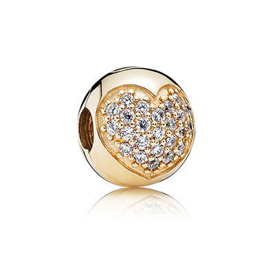PANDORA 14K Gold Plated Clear Pave Heart Clip