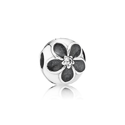 PANDORA Mystic Floral with Clear CZ and Enamel Clip