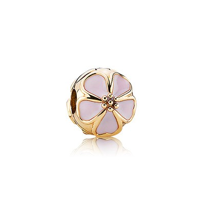 PANDORA 14K Gold Plated Cherry Blossom with Pink Enamel Clip
