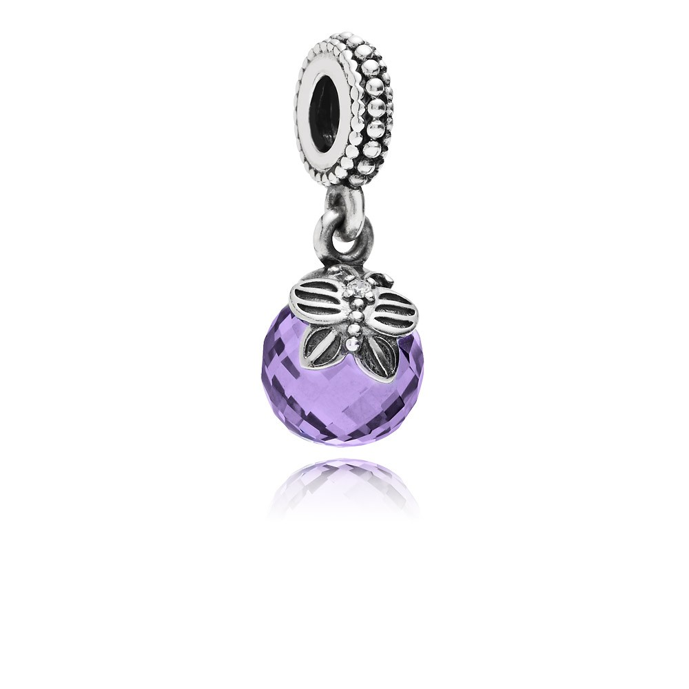 Morning butterfly, purple & clear cz Pandora Charm