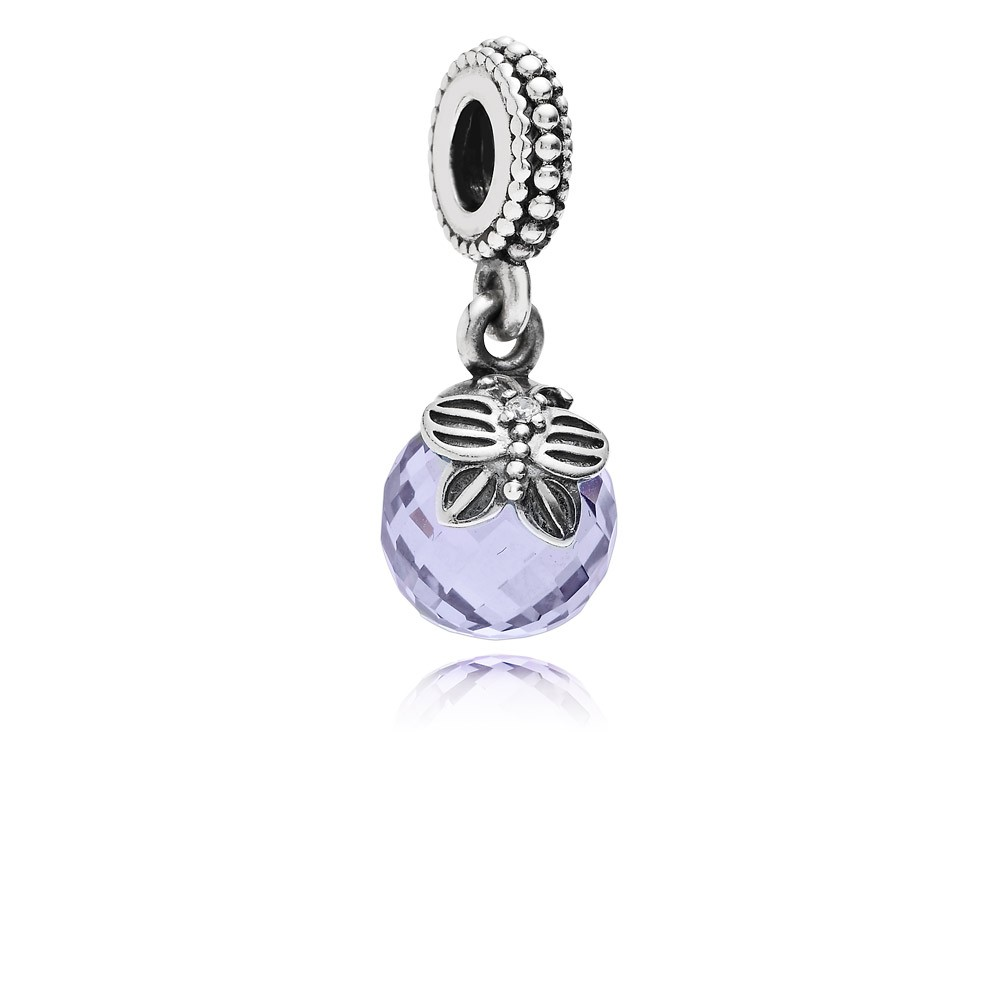 Morning butterfly, lavender & clear cz Pandora Charm