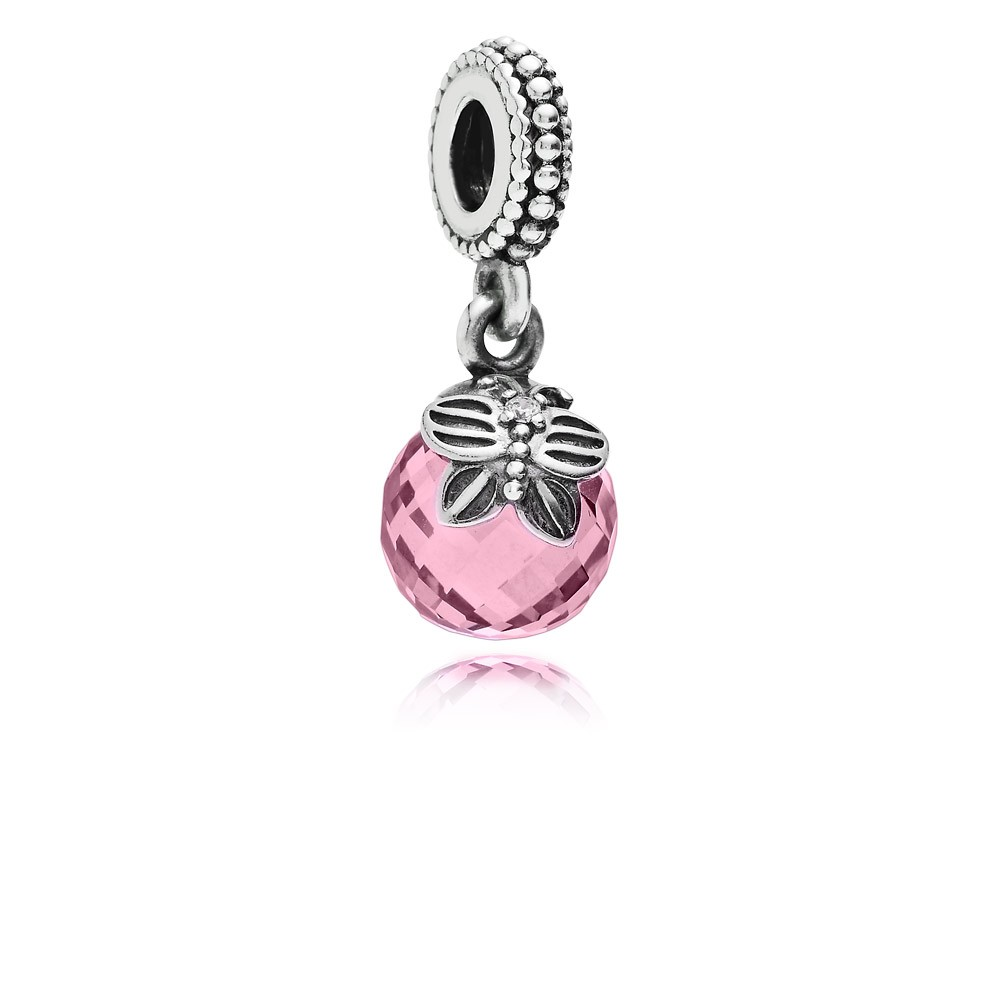 Morning butterfly, pink & clear cz Pandora Charm