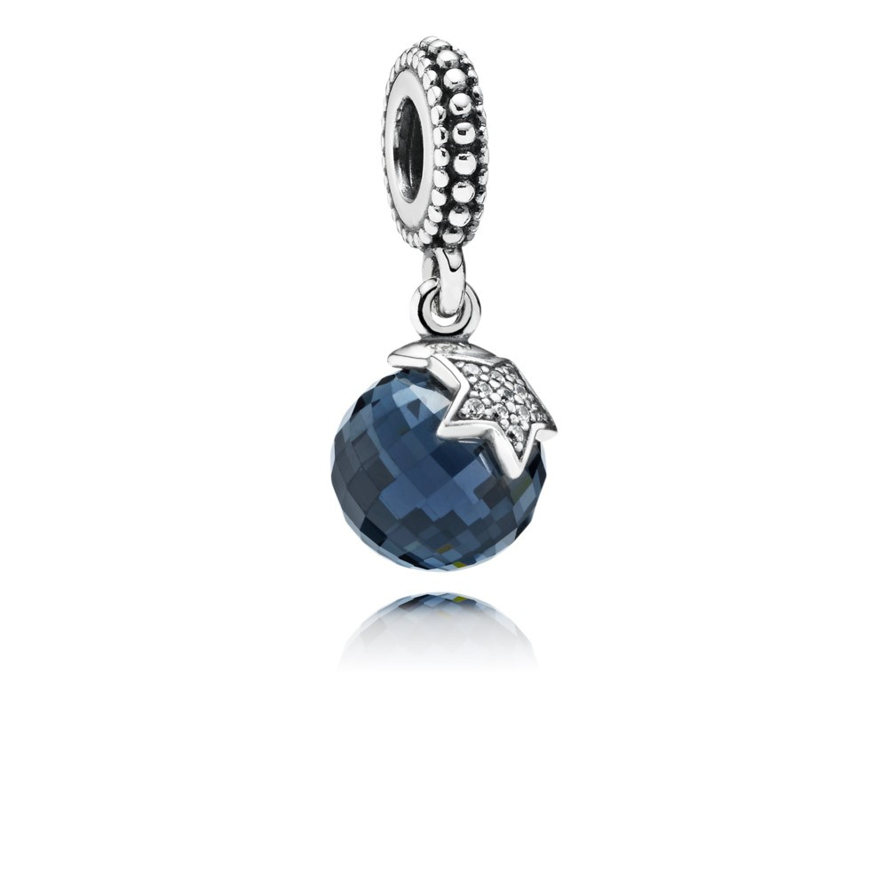 Pandora Moon & Star, Midnight Blue Crystal & Clear Cz