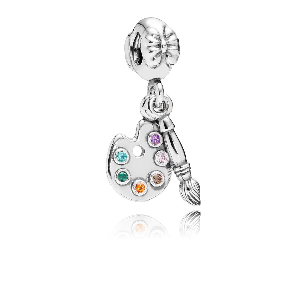 Artists Palette Silver Dangle With 6 Colors Of Cubic Zirconia