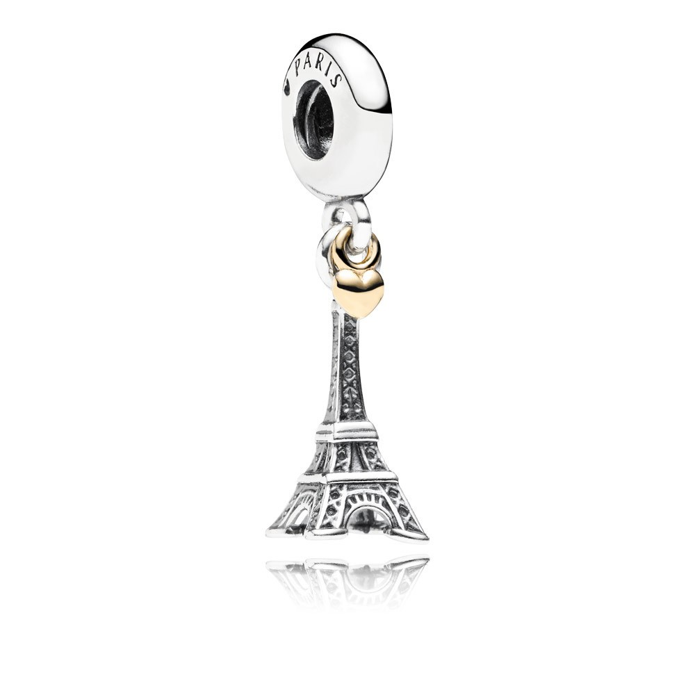Eiffel Tower Silver Dangle With 14K