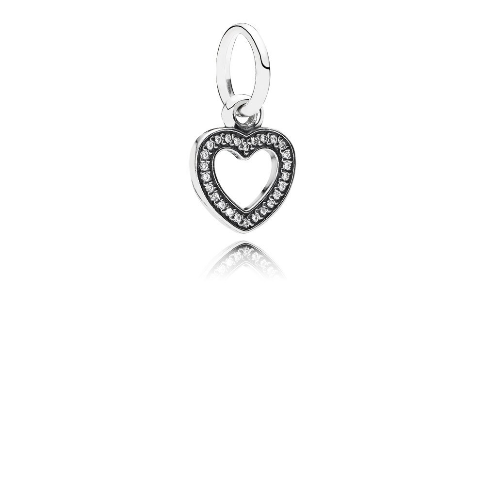 Heart Silver Dangle With Cubic Zirconia