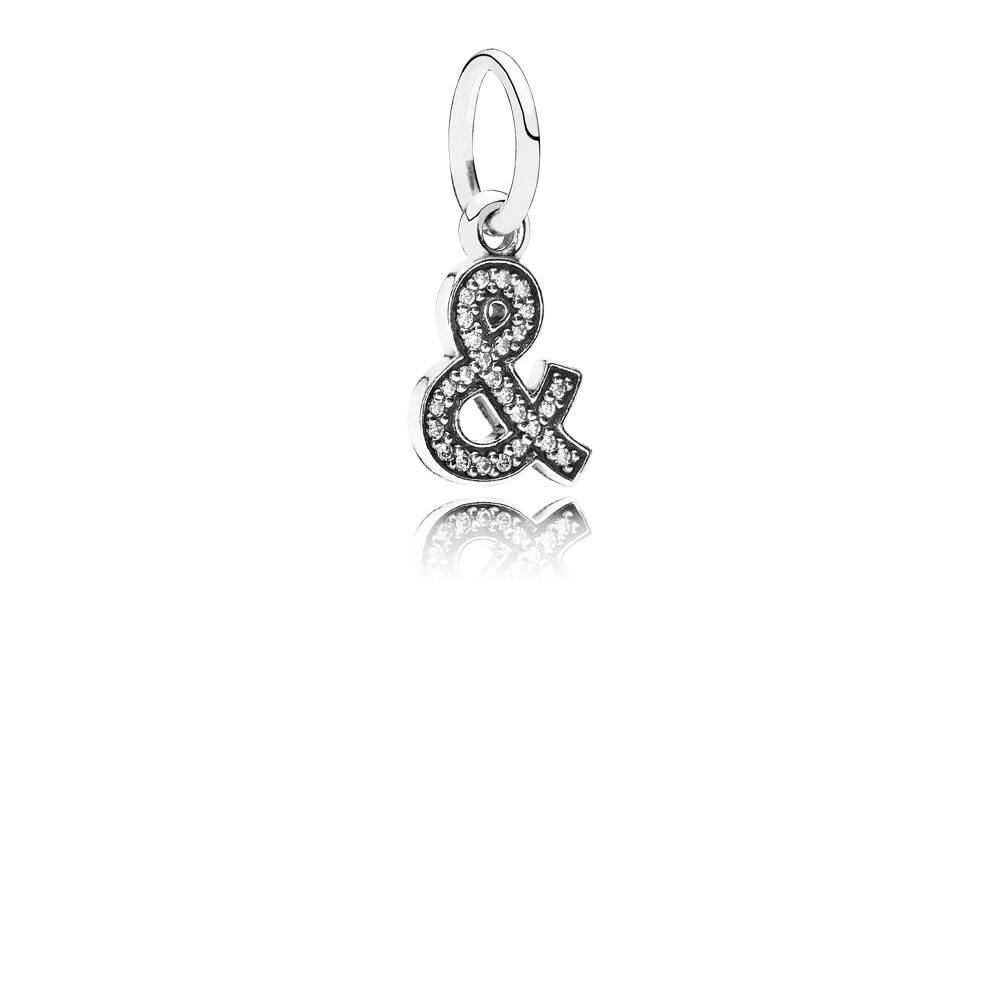 Sign Silver Dangle With Cubic Zirconia