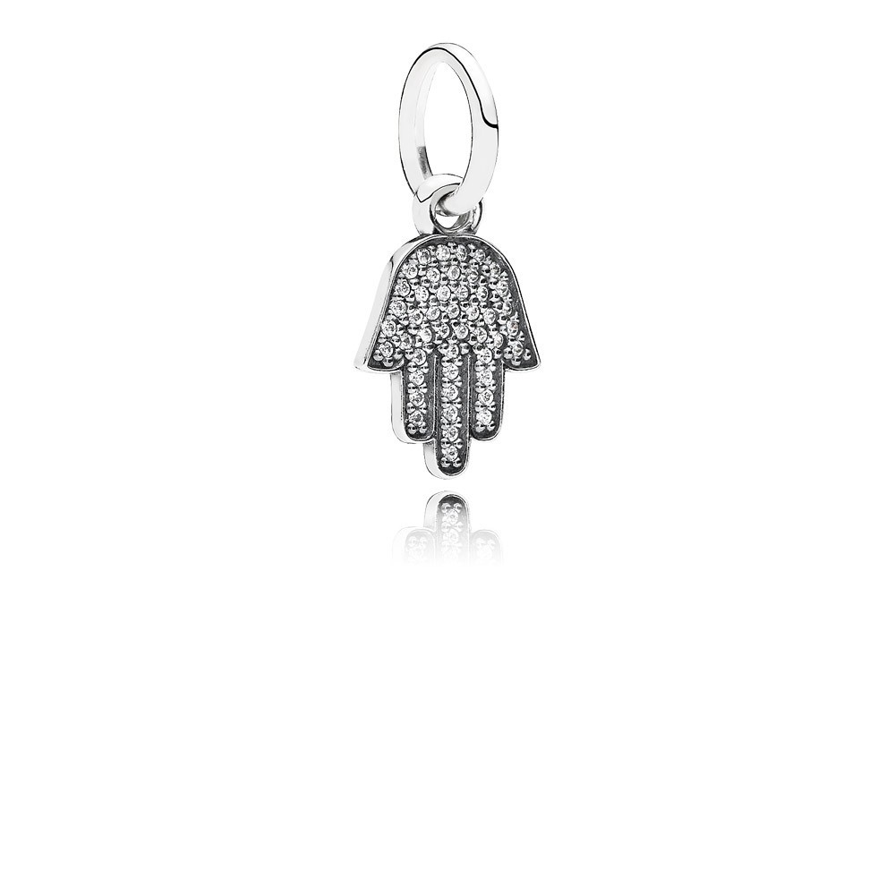 Hamsa Hand Silver Dangle With Cubic Zirconia